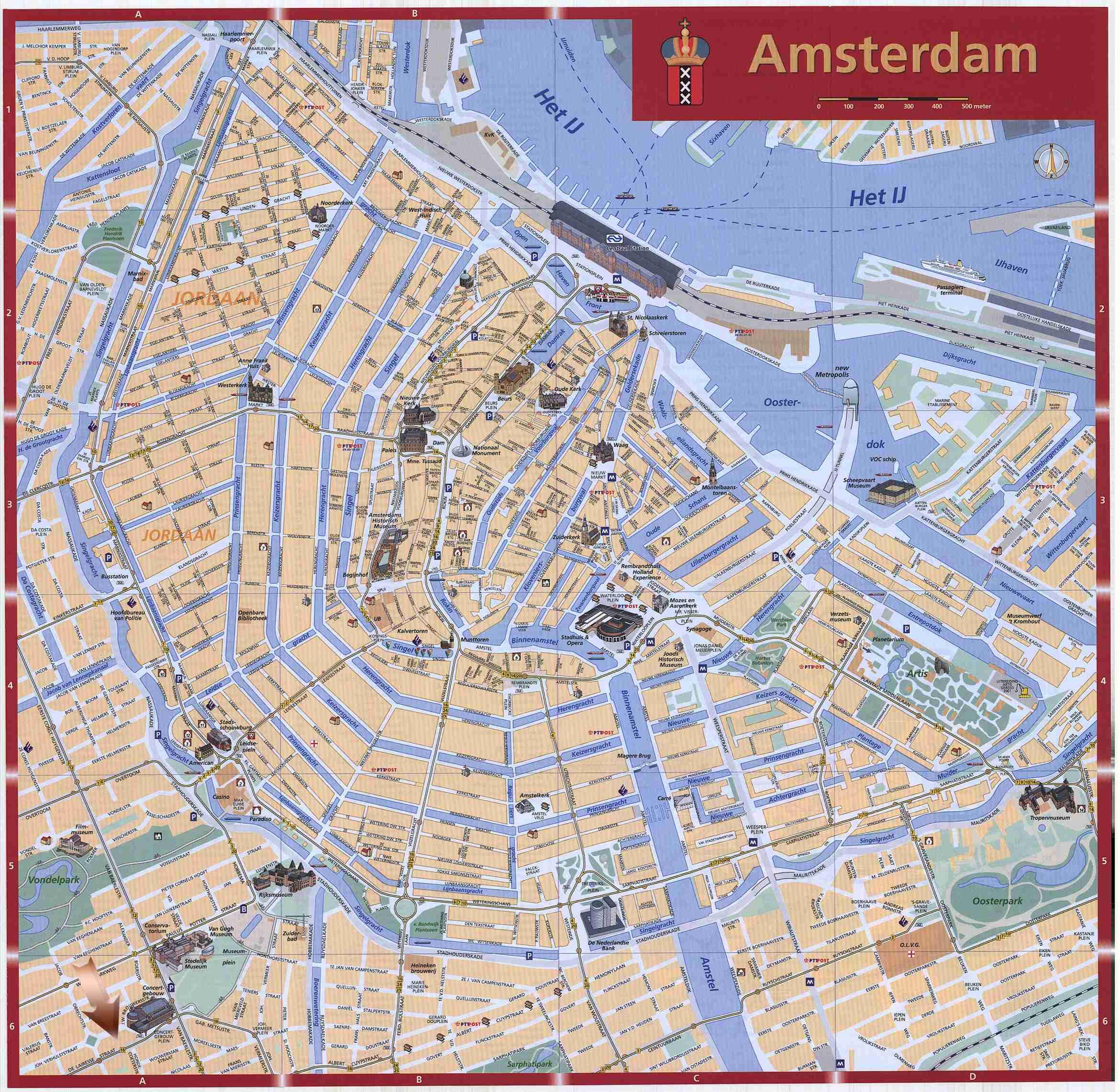 Plano de Amsterdam Completo plano de Amsterdam con los principales atractivos turísticos que visitar en la ciudad.