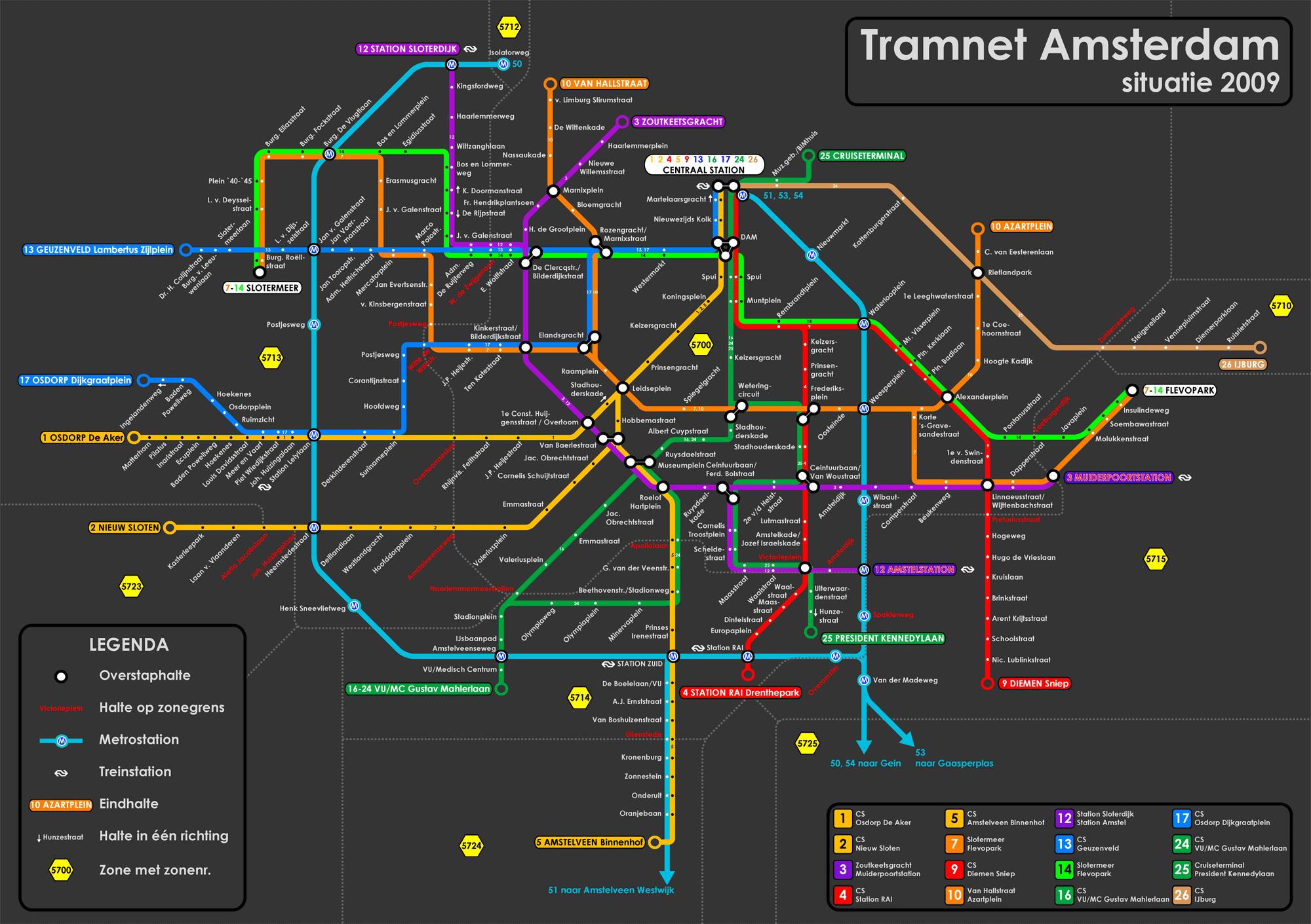 Plano tranvías de Amsterdam Completo plano de los tranvías de Amsterdam para descargar y llevar contigo en el viaje.